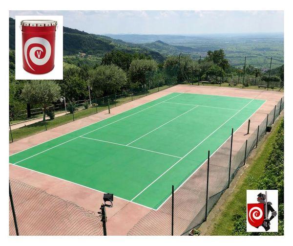 Campo da tennis verniciato con nostro smalto acrilico semilucido testurizzato