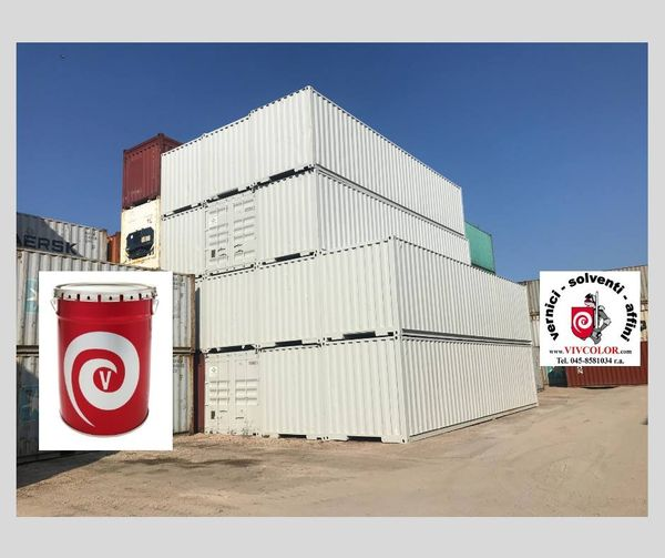 Containers verniciati con nostra pittura al clorocaucciu CLOROVIV RAL 7035