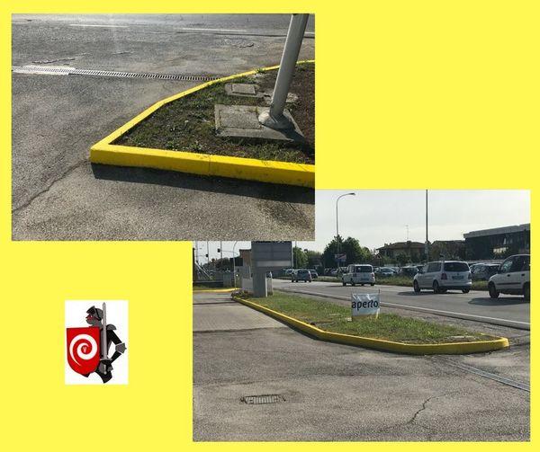 Particolari con nostra pittura segnaletica spartitraffico gialla SPARTIVIV
