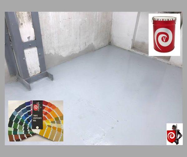 Pavimento in cemento verniciato con nostro smalto epossidico bicomponente specifico